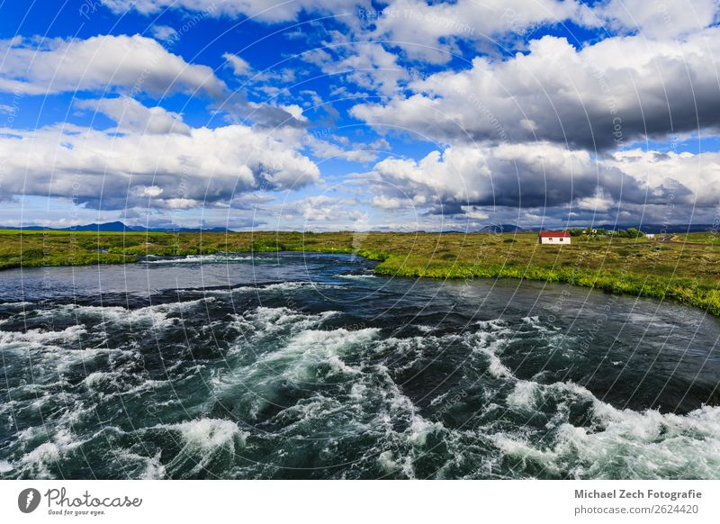 blue river under blue sky near myvatn in summer Vacation & Travel Tourism Adventure Summer Island Nature Landscape Plant Hill Lake Hiking agriculture Europe