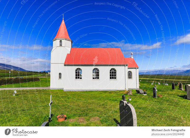 Glaumbaer church in glaumbaer iceland on a beautiful day Beautiful Vacation & Travel Tourism Winter Snow Nature Landscape Sky Climate Hill Village Church