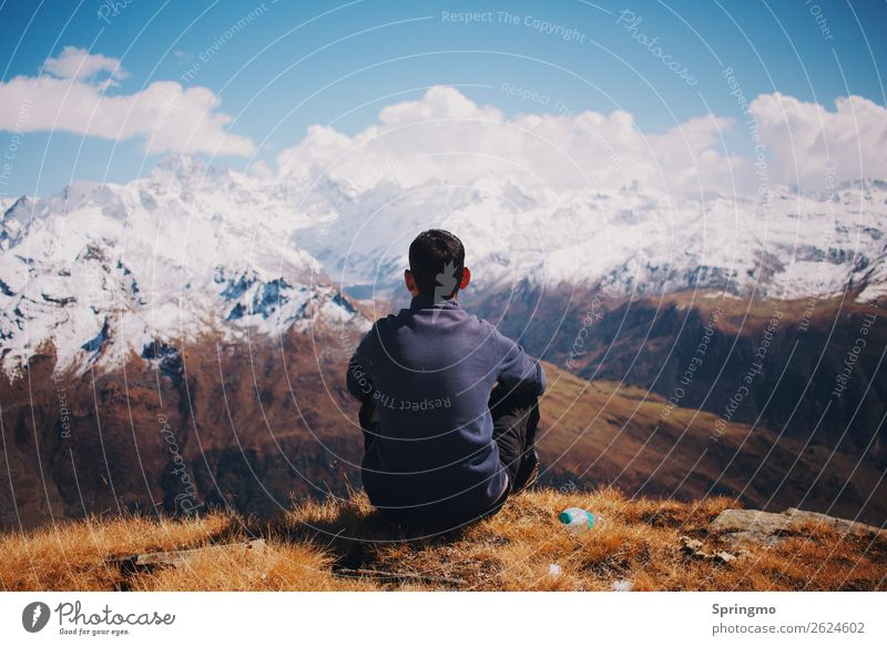 Human being Nature Youth (Young adults) Young man Landscape Clouds Mountain 18 - 30 years Adults Happy Exceptional Freedom Hiking Masculine Dream Power