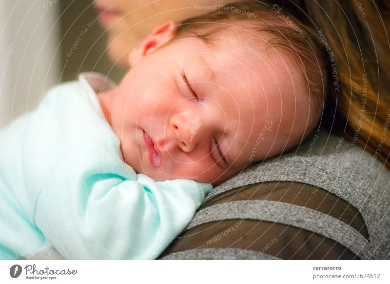 baby sleeping on his mother's shoulder Woman Child Human being Beautiful Face Adults Life Love Funny Family & Relations Happy Boy (child) Small Together Infancy