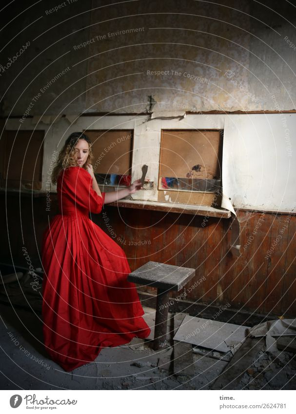 Martina Room Feminine Woman Adults 1 Human being Ruin lost places Wall (barrier) Wall (building) Rack Chair Dress Blonde Long-haired Curl Observe Movement
