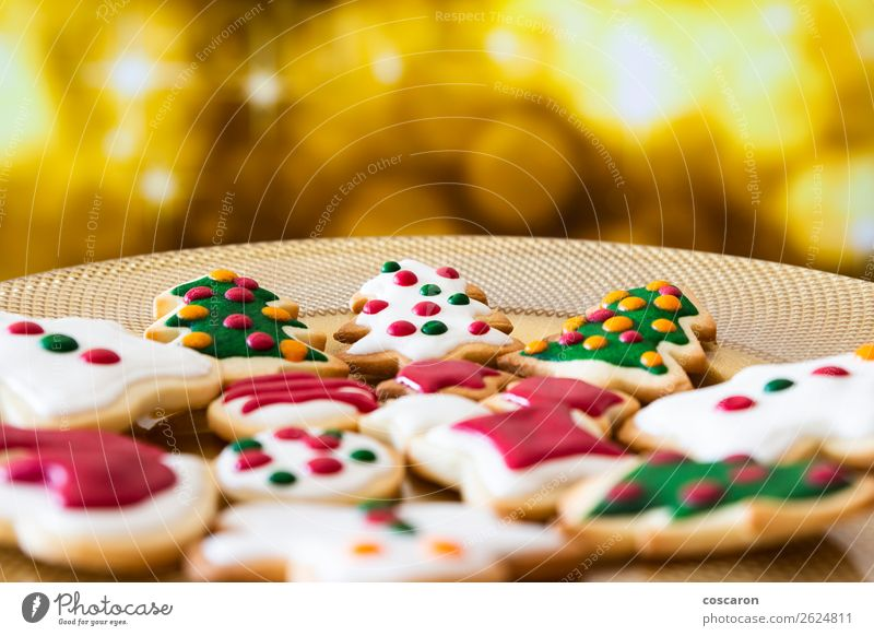 Christmas cookies on a dish with golden lights background Nature Man Christmas & Advent Beautiful Green White Red Tree Joy Winter Food Adults Wood Snow