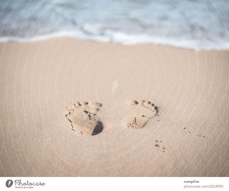 Footprints on the sandy beach Joy Beautiful Healthy Alternative medicine Wellness Harmonious Calm Meditation Spa Swimming & Bathing Vacation & Travel Freedom