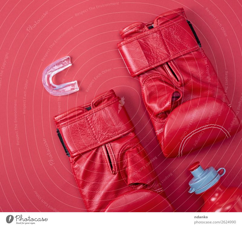 red boxing sport gloves Bottle Lifestyle Fitness Sports Leather Gloves Above Red Protection Competition Creativity Boxing pair equipment Conceptual design
