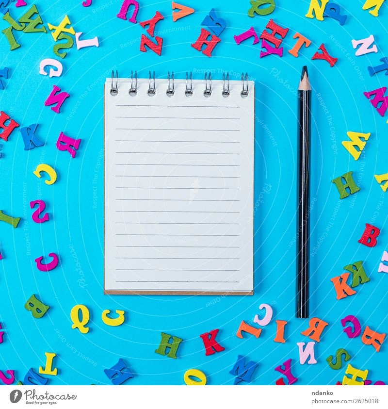 notebook with empty white sheets and black pencil Child Blue Colour Green Red Joy Wood Yellow Natural Playing School Pink Office Decoration Open Book