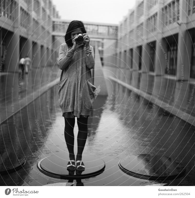 Human being Woman Youth (Young adults) City Beautiful House (Residential Structure) Adults Feminine Wall (building) Architecture Wall (barrier) Think Bright Moody Facade Wait