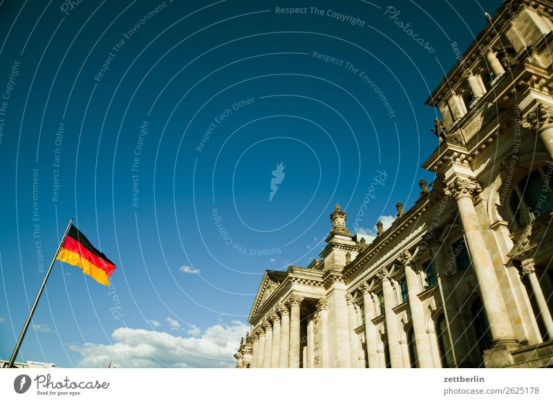 Reichstag Architecture Berlin Germany German Flag Worm's-eye view Capital city Sky Heaven Downtown Downtown Berlin Parliament Government Seat of government
