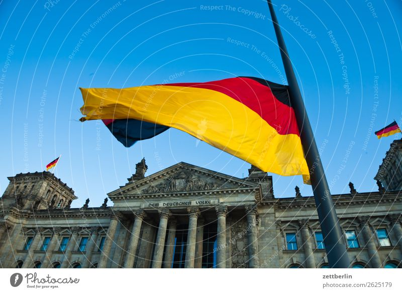 Flag again Architecture Berlin Reichstag Germany German Flag Worm's-eye view Capital city Sky Heaven Downtown Berlin Parliament Government Seat of government
