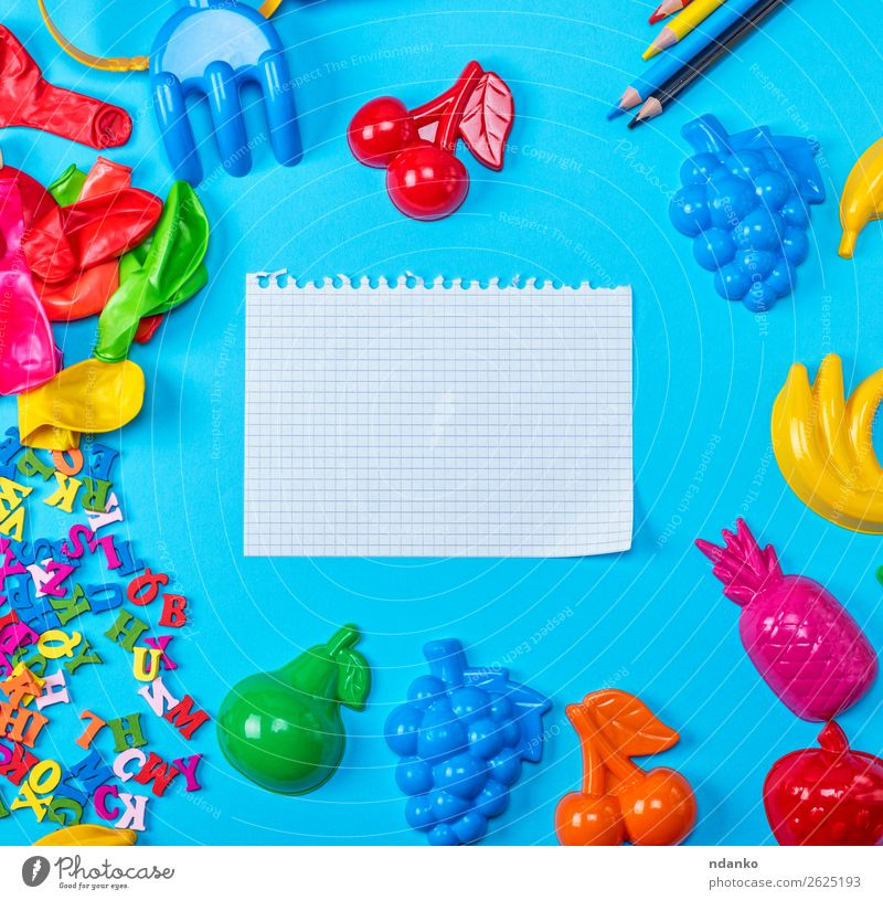 empty white sheet torn out of notepad Fruit Table Child School Study Office Paper Piece of paper Pen Toys Balloon Wood Plastic Write Above Clean Blue Yellow Red