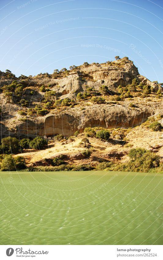 La ribera [XXIV] Nature Landscape Elements Water Tree Bushes Hill Rock Waves River bank Guadalhorce Malaga Andalucia Spain Embalse del Cónde de Guadalhorce