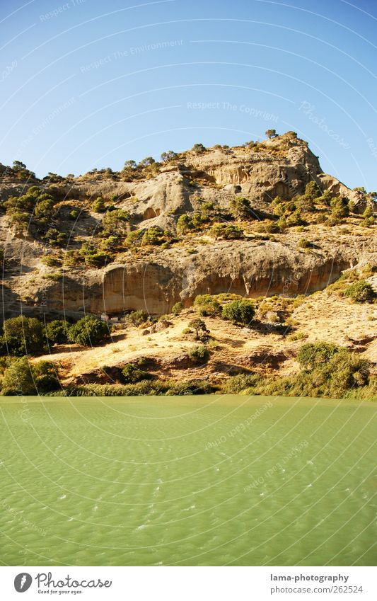Nature Water Tree Landscape Waves Rock Bushes Elements River Hill River bank Spain Reservoir Andalucia Malaga