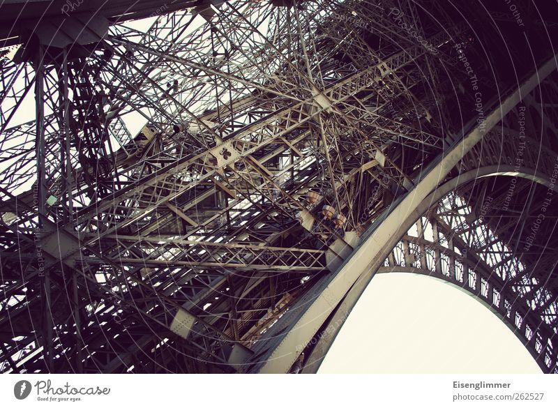Eiffel tower scaffolding Paris France Europe Capital city Downtown Tower Eiffel Tower Old Success Historic Steel construction Colour photo Subdued colour