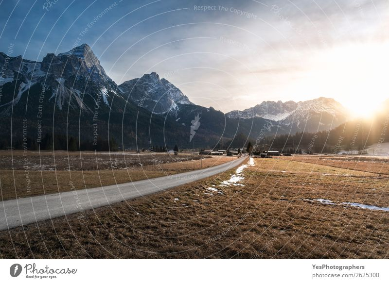 Sunset over mountains and village Vacation & Travel Winter Snow Mountain Nature Landscape Weather Meadow Alps Peak Village Street White Alpine Austria Austrian