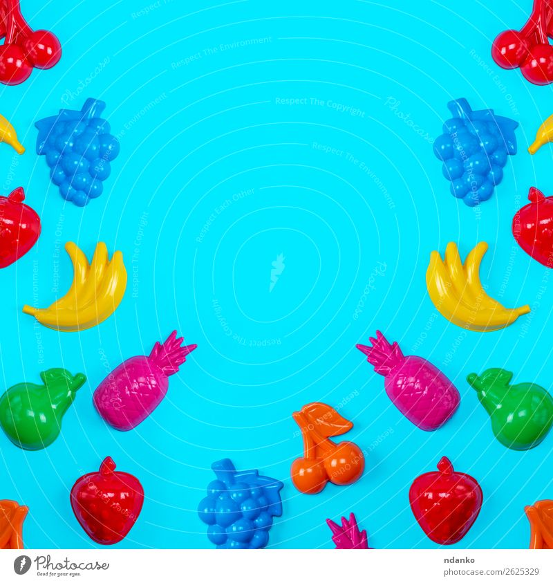 background with childrens colorful toys Fruit Joy Playing Child Toys Collection Plastic Select Bright Above Blue Yellow Green Pink Red Colour Creativity element