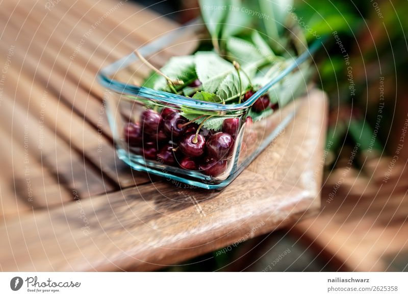 cherries Food Fruit Dessert Cherry Nutrition Organic produce Vegetarian diet Diet Fasting Plate Bowl Summer Sun Leaf Table Wooden table Glass Fresh Delicious