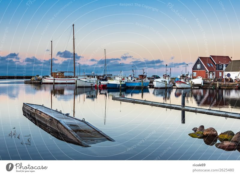 View of the harbour of Klintholm Havn in Denmark Relaxation Vacation & Travel Tourism House (Residential Structure) Nature Landscape Water Clouds Coast