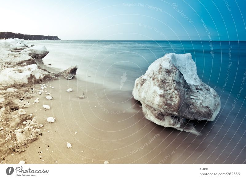 winter erratic block Environment Nature Landscape Elements Sand Sky Cloudless sky Horizon Winter Climate Ice Frost Snow Coast Beach Baltic Sea Ocean Island