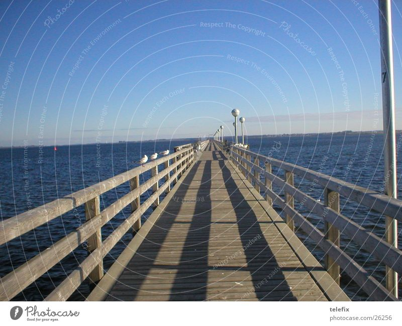 Water Horizon Bridge Footbridge Jetty Baltic Sea Handrail