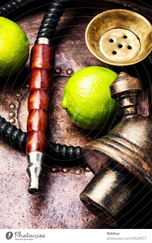Oriental hookah shisha with lime fruit tobacco nargile smoke nicotine smoking east relaxation arabic mouthpiece deluxe pipe fragrant hookah with lime style