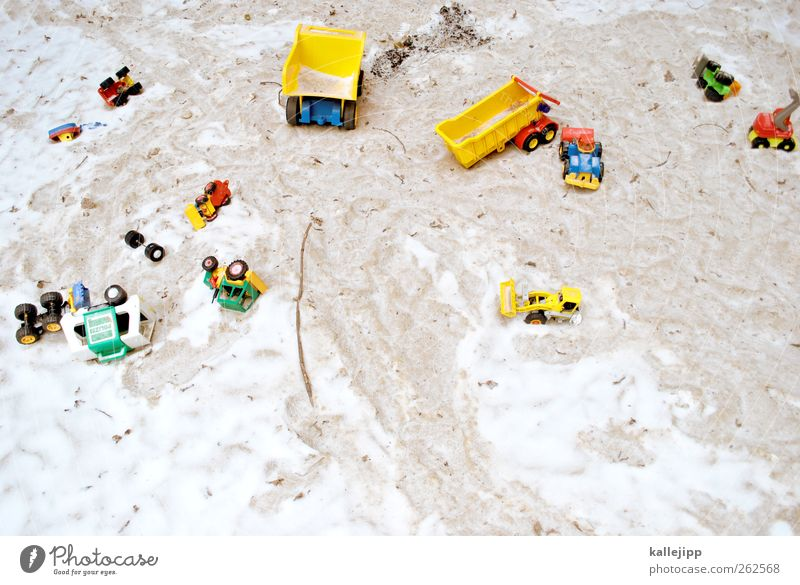 large construction site Leisure and hobbies Playing Children's game Sandpit Kindergarten Truck Car Toys Statue Snowfall Excavator Police car Miniature