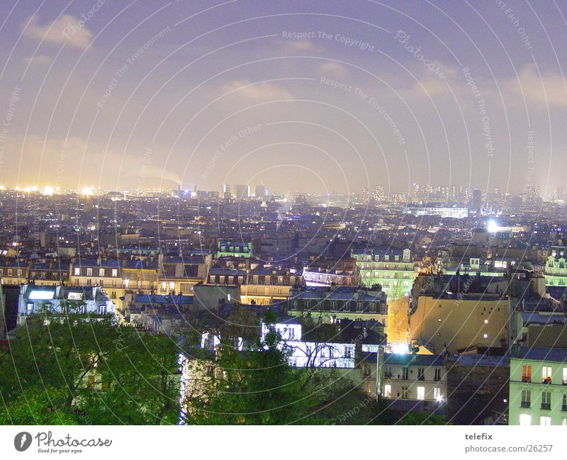 Paris at night Night Eiffel Tower House (Residential Structure) Bird's-eye view Town Europe Sky Aerial photograph