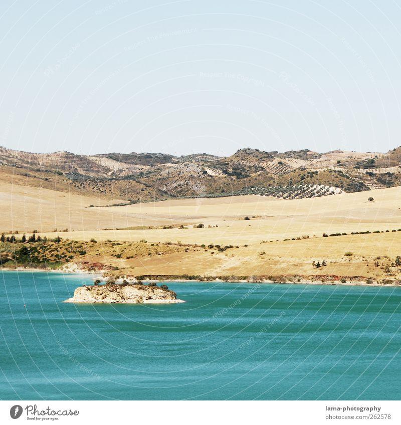 Water Vacation & Travel Calm Sand Coast Lake Field Trip Island Hill Lakeside Spain Mediterranean Reservoir Andalucia Malaga