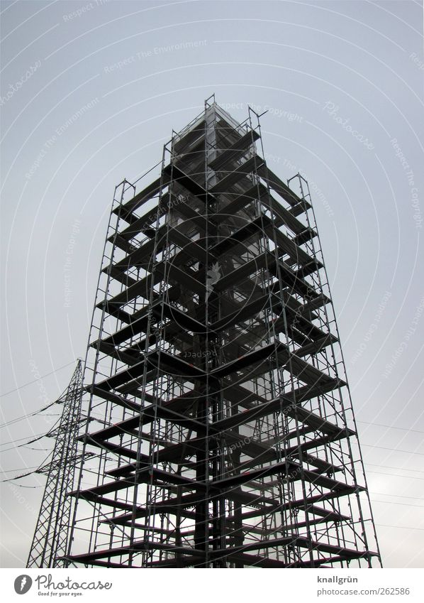 Well equipped Technology Energy industry Electricity pylon Architecture Tower Wood Metal Build Stand Sharp-edged Large Tall Blue Black Safety Protection Growth