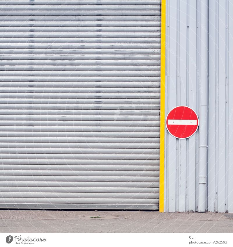 |- Deserted Industrial plant Factory Building Wall (barrier) Wall (building) Facade Transport Stagnating Highway ramp (entrance) Gate Closed Signs and labeling