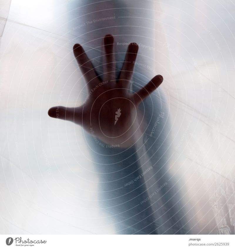 STOP Human being Man Adults Hand 1 Emotions Stress Timidity Mistrust Disgust Relationship Resolve Threat Cancelation Gesture Colour photo Interior shot Abstract