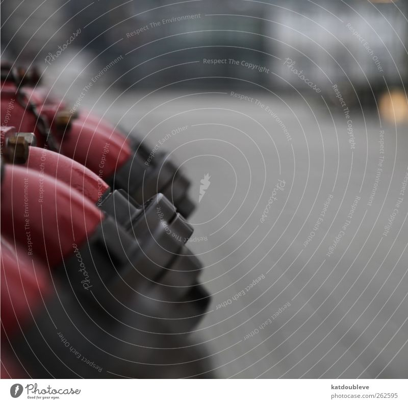 bouche d'incendie Town Downtown Harbour Street Water Gray Red Provision Water supply Fire hydrant Colour photo Exterior shot Copy Space right Day Blur