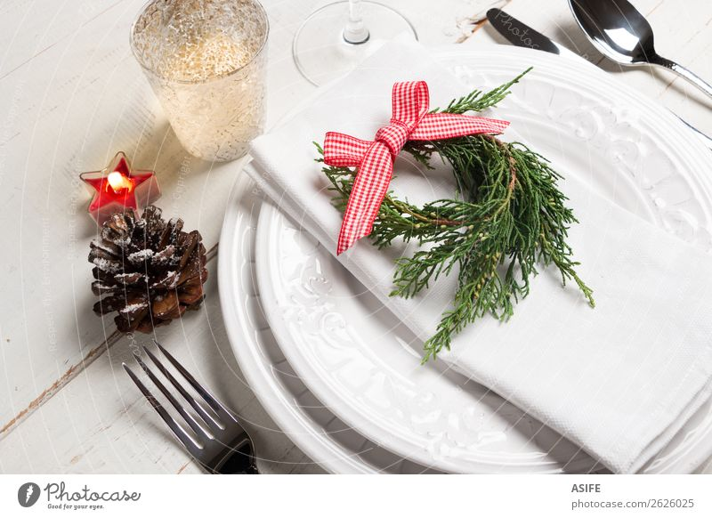 Christmas table place setting Eating Dinner Cutlery Fork Spoon Style Design Table Restaurant Feasts & Celebrations Christmas & Advent Tree Places Candle Wood