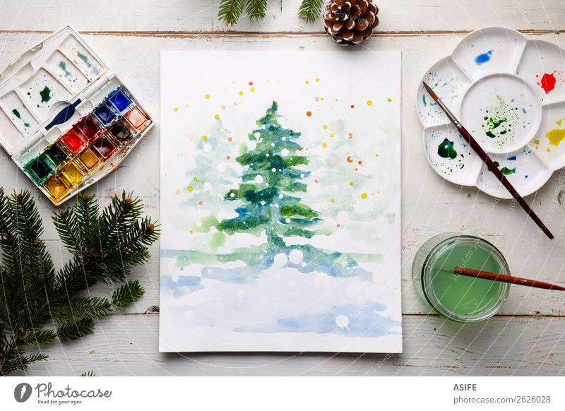 Handmade watercolour Christmas popster White Tree Wood Snow Copy Space Design Leisure and hobbies Decoration Table Creativity Paper Illustration