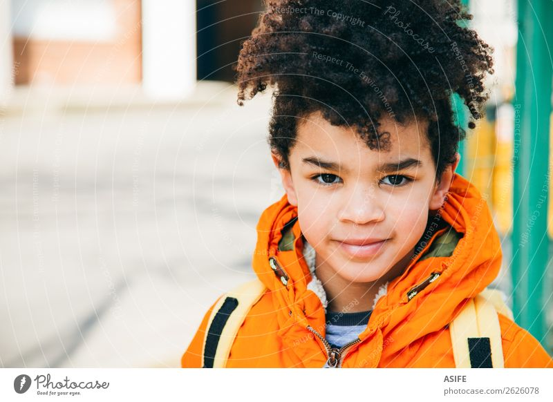 Little school boy at the entrance of the school Happy Winter Child School Boy (child) Autumn Coat Smiling Small Yellow Black schooler Backpack student handsome