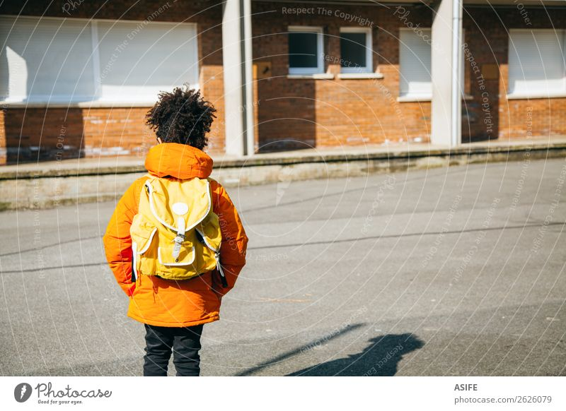 Little school boy at the entrance of school Winter Child School Boy (child) Autumn Coat Small Yellow Black schooler Backpack student handsome african descendant