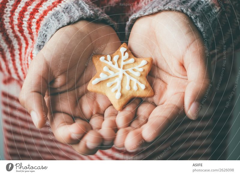 Christmas cookie in child hands Child Christmas & Advent Hand Tree Winter Brown Decoration Gift Delicious Tradition Dessert Festive Snack Sugar Horizontal