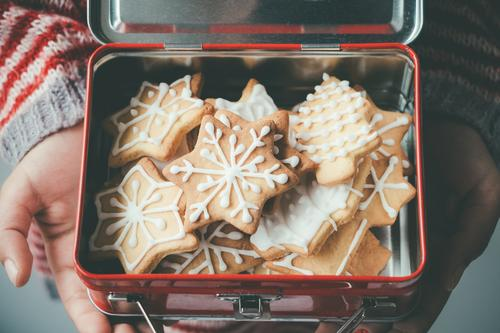 Christmas cookies in a kid lunch box Dessert Lunch Decoration Christmas & Advent Child Hand Group Tree Metal Delicious Brown Tradition Cookie one people Icing