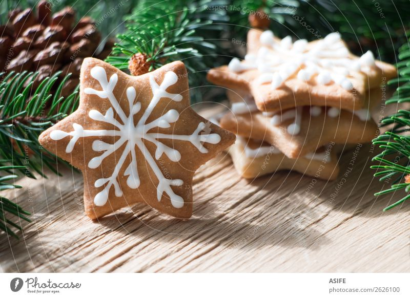 Christmas cookie Christmas & Advent Tree Wood Group Brown Decoration Gift Delicious Tradition Dessert Festive Snack Rustic Sugar Horizontal Baking
