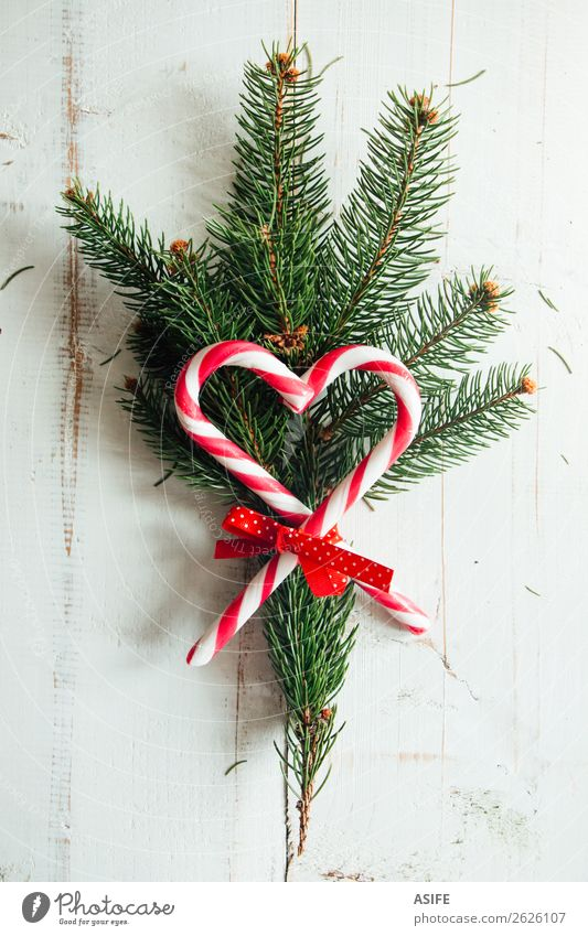 Loving Christmas Winter Decoration Table Christmas & Advent Nature Tree Tie Bouquet Wood Ornament Heart Old Love New Original Retro Green Red White background