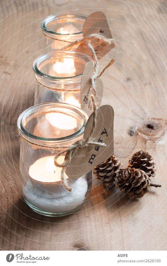 Eco Christmas candle holders Christmas & Advent Warmth Love Feasts & Celebrations Decoration Table Heart Paper Rope Candle Symbols and metaphors Craft (trade)