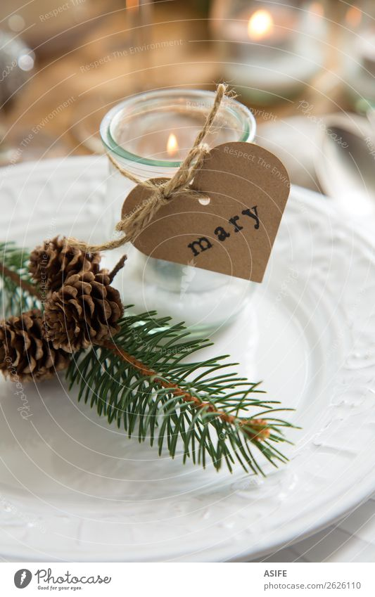 Setting Christmas table with candles Christmas & Advent Dish Warmth Love Feasts & Celebrations Decoration Table Heart Paper Rope Candle Symbols and metaphors