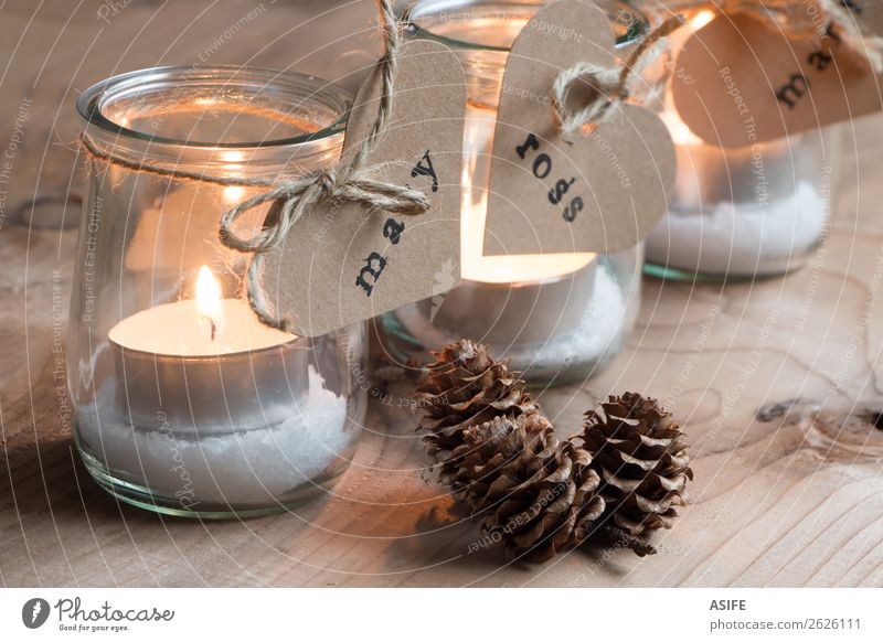 Christmas candles for all the guests Christmas & Advent Warmth Love Feasts & Celebrations Decoration Table Heart Paper Rope Candle Symbols and metaphors