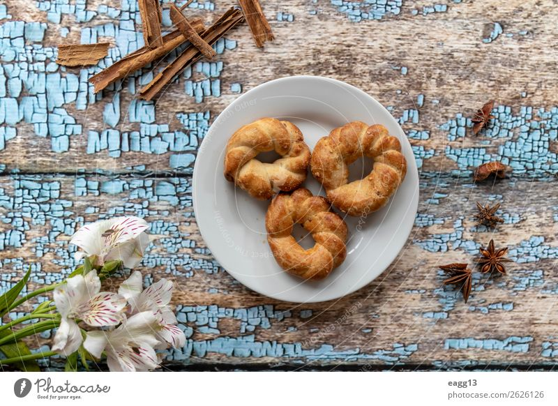Delicious anise cookies at breakfast Bread Dessert Nutrition Breakfast Diet Coffee Beautiful Life Table Fresh Brown White background Baking Bakery biscuit cake