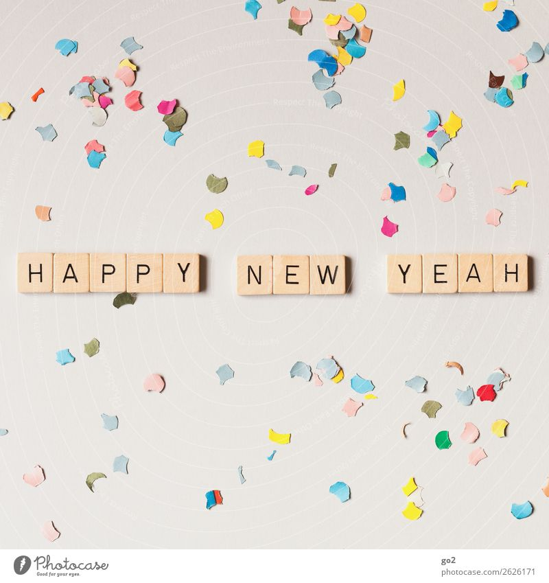 Happy New Yeah! Party Feasts & Celebrations New Year's Eve Birthday Decoration Confetti Characters Happiness Positive Multicoloured Emotions Moody Joy