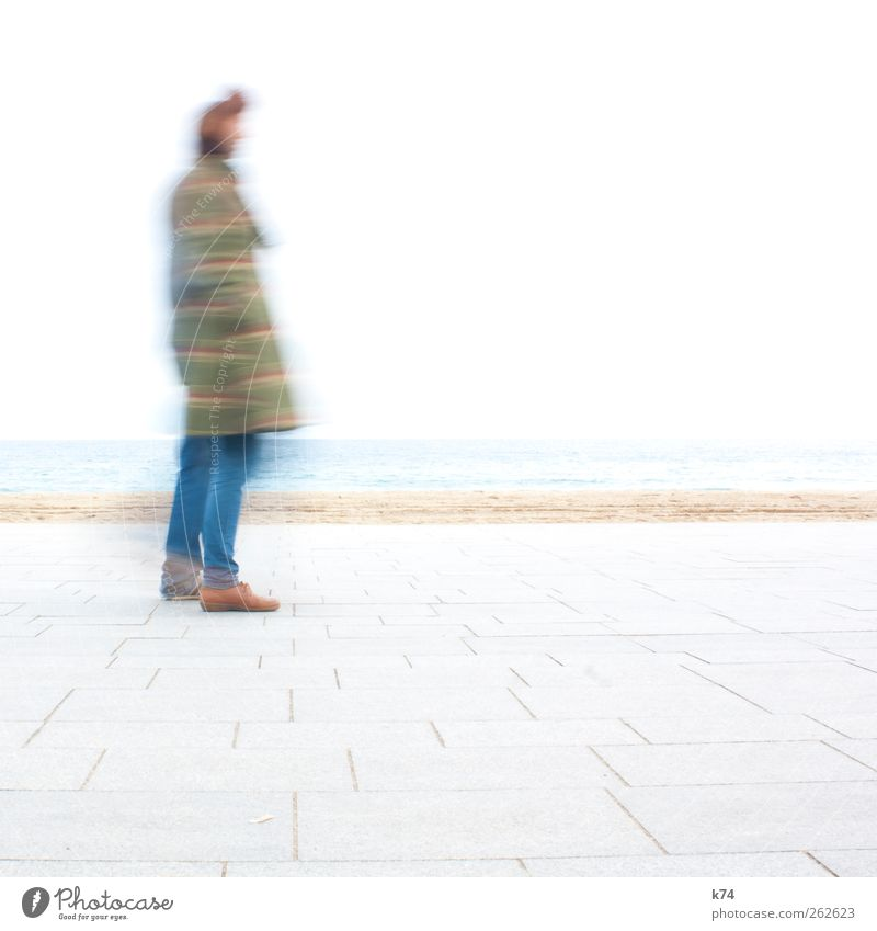 Human being Youth (Young adults) Ocean Loneliness Coast Bright Going Wait Young woman Stand Young man Androgynous Comic strip character