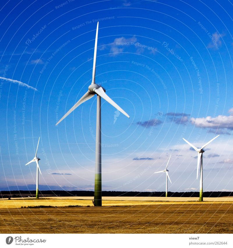 windmills Construction site Energy industry Machinery Wind energy plant Environment Nature Landscape Climate Beautiful weather Industrial plant Metal Line