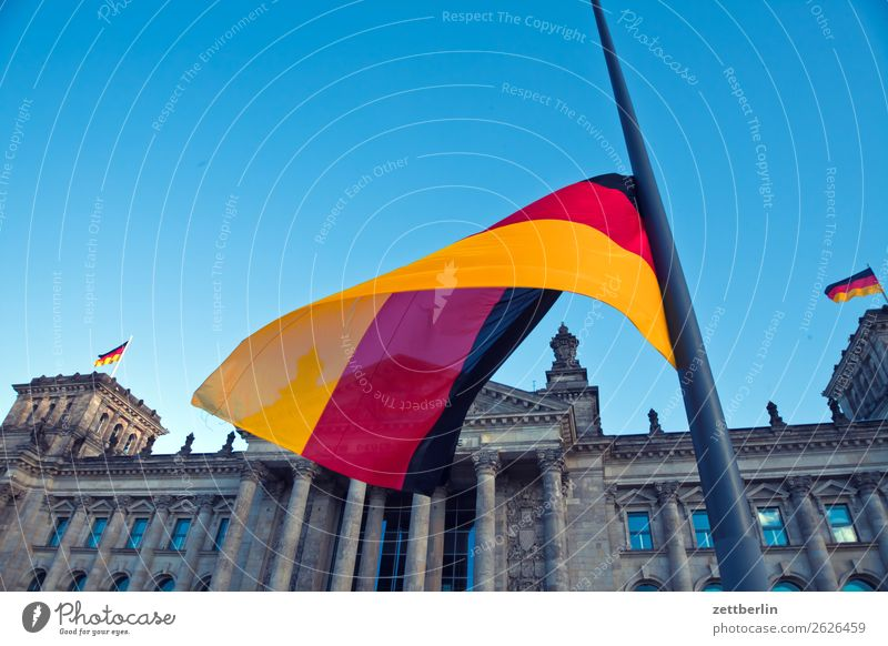 Sky Heaven Architecture Berlin Tourism Germany Copy Space Facade Wind German Flag Grief Capital city Blow Downtown Berlin Flagpole