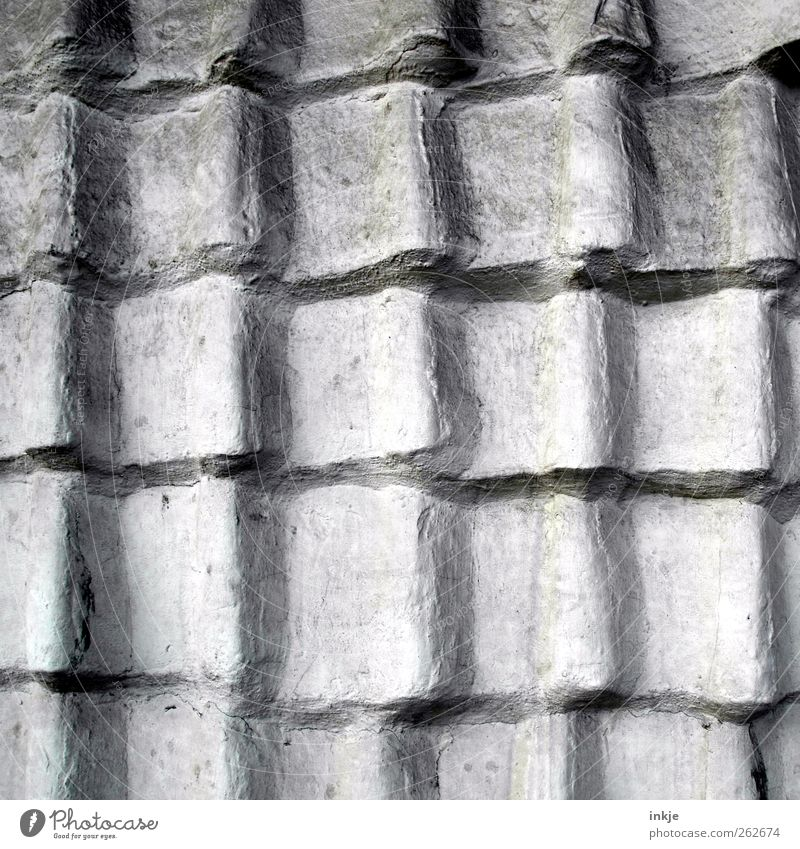 the cement neighbor Deserted Manmade structures Wall (barrier) Wall (building) Facade Roof Roofing tile Tiled roof Line Undulation Old Gray Protection Airtight
