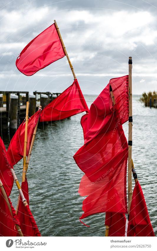 Fishing flags, sea, jetty Fisherman Fishing net Red Ocean Boddenlandscape NP Bay Baltic Sea Horizon Clouds Nature Fishery Trip Sky Bad weather Coast