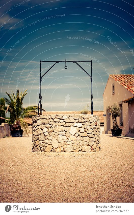 Sky Sun Summer House (Residential Structure) Calm Warmth Stone Trip Empty Well Village Discover Palm tree France Exotic Gravel