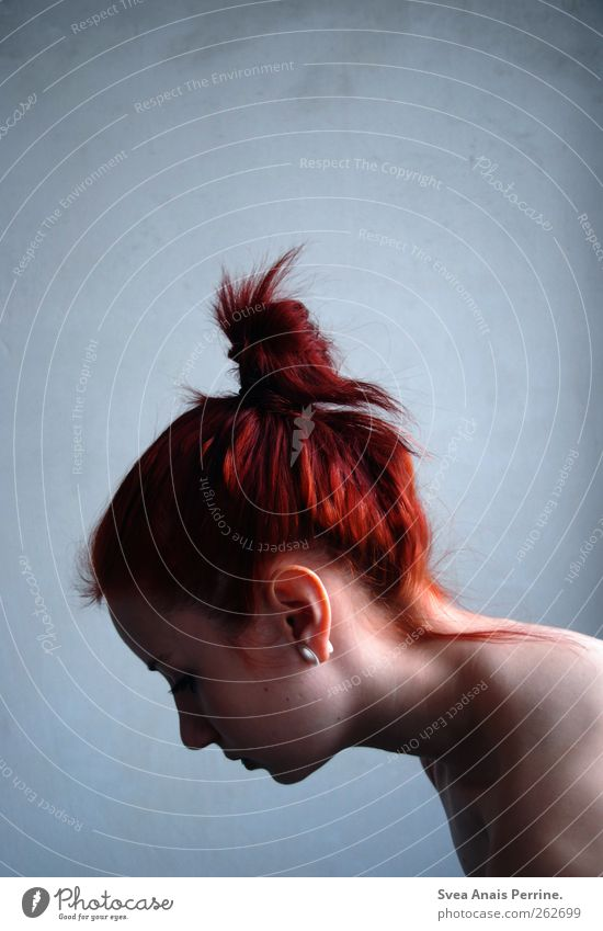 dino.2. Feminine Young woman Youth (Young adults) Hair and hairstyles Face Back 1 Human being Wall (barrier) Wall (building) Red-haired Chignon Uniqueness Cold